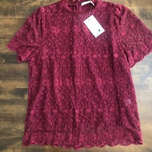 Everleigh Embroidered Wine Color Size XS